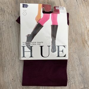 Hue Tights Opaque Burgundy with Control Top NWT